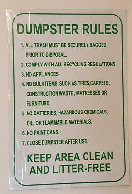 Dumpster Rules Sign Aluminium 12 X 18 -rust Free