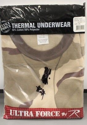 Desert Camo Thermal - Rothco Ultra Force Thermal Underwear Top, Size: 4XL, Tri-Color Desert, New!