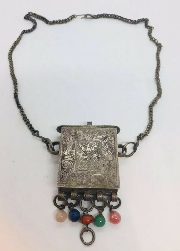 Chinese Antique Sterling Silver Ornate Wedding Box Coral Lapis Necklace