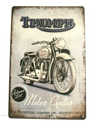 New Triumph Motorcycles Tin Metal Poster Sign Rustic Vintage Ad Style Biker