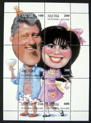 BILL CLINTON STAMPS SHEET ABKHAZIA MONICA LEWINSKY POLITICAL STAMP PRIVATE ISSUE