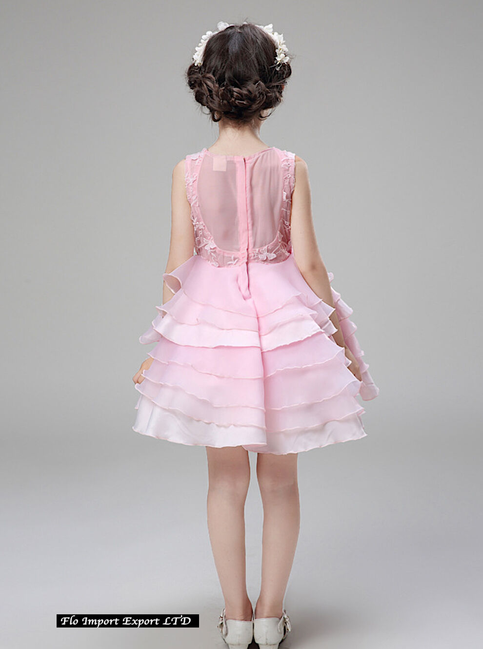 Vestito Bambina Abito Cerimonia Fiori Elegante Girl Party Princess ... 4455a0958c0
