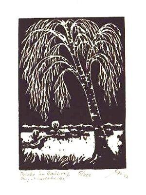Birke im Rauhreif - original Linolschnitt Franz Grickschat Nr 138 signiert online kaufen