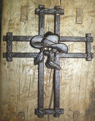 - HUGE Cast Iron VICTORIAN Style COYBOY Hat Wall Cross Rustic Decorative Western