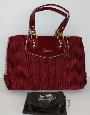 NEW Coach Ashley Madison Leather Gathered Satin Carryall Tote Bag 20050 Red $398 Gathered Tote Bag