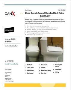 Square 1 Piece Dual Flush Toliets