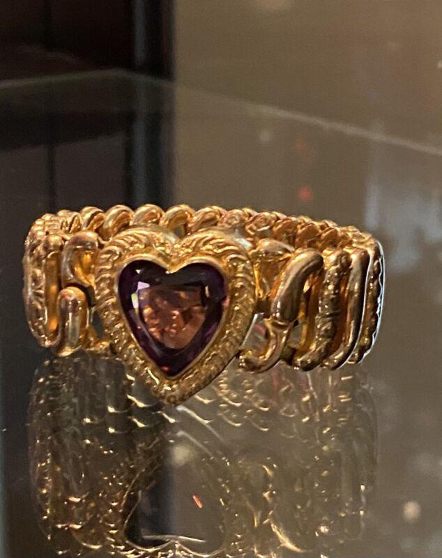 Antique Carmen American Queen Gold Filled Amethyst Rhinestone   Bracelet c1907