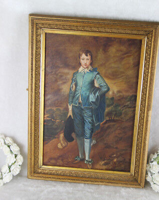 Gorgeous oil panel painting blue boy romantic after gainsborough 1970's  for sale  Shipping to Canada
