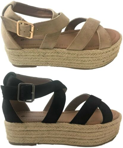 Women Flatform Espadrille Strappy Open Toe Platform Wedge Gl