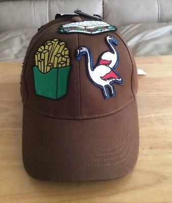 ZARA MAN EMBROIDERED PATCHES Fun Food Tropical HAT BASEBALL CAP BROWN Sz M