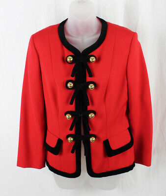Moschino Cheap And Chic Vintage Red Black Bow Button Jacket Size 8