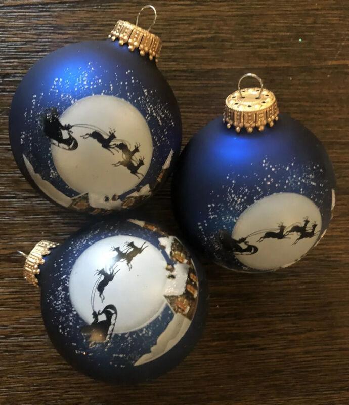 Vintage KREBS Blue Glass Santa Reindeer Sleigh Glitter CHRISTMAS Ornaments