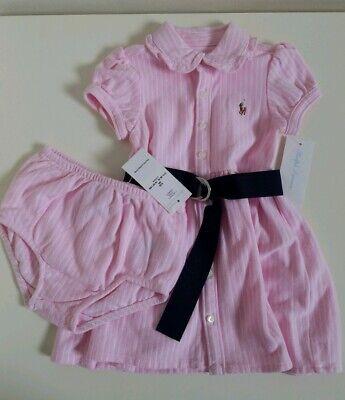 NWT Ralph Lauren Baby Girls 2Piece Dress Set Pink Size 9M