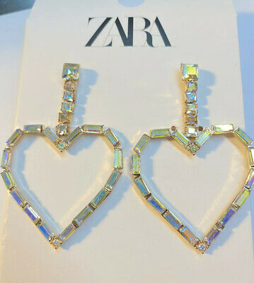 New ZARA HEART EARRINGS WITH RHINESTONES CRYSTAL F7