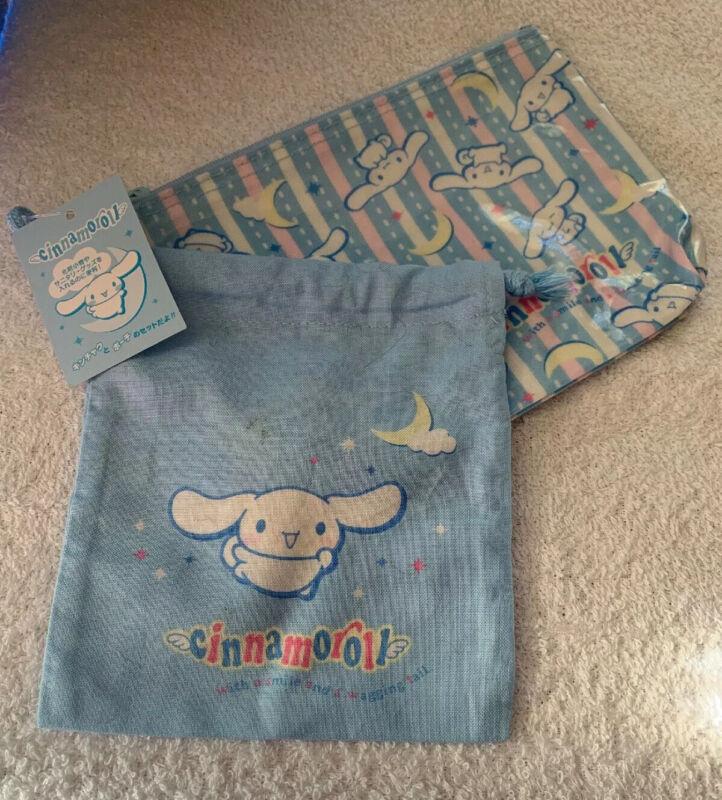 Sanrio Cinnamoroll Vinyl Makeup Bag & Drawstring Cloth Bag NWT Japan