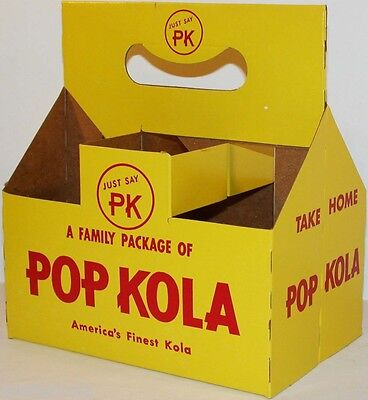 Vintage soda pop bottle carton POP KOLA Just say PK unused new old stock n-mint