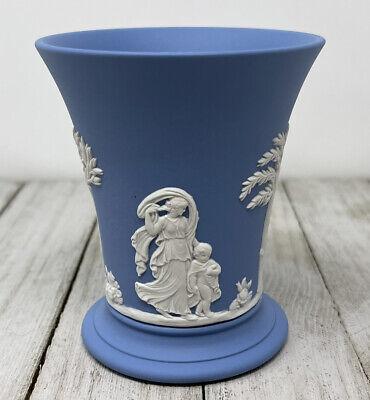 Vintage Wedgwood Jasperware 4 Piece Set Cupid Cherub Box Tray Vase Blue White