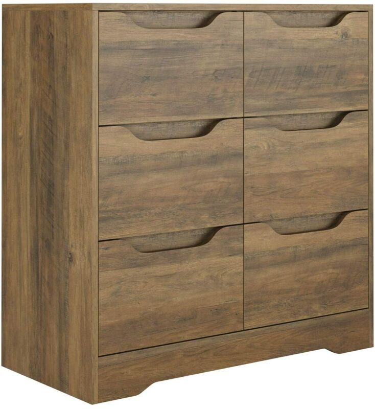 6 Drawer Chest Wide Storage Dresser Wood Chest Of Drawers Cabinet Nightstand