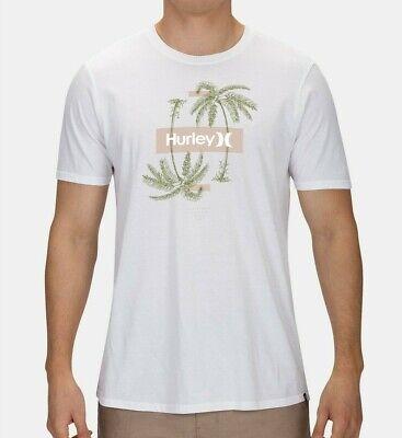 NWT HURLEY 100% Cotton Reflect Palms Graphic Logo White T-Shirt Tee Sz XL