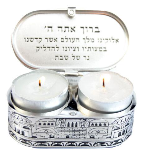 Jerusalem travel candlesticks Shabbat Candle Holders israel Nickel Tea light
