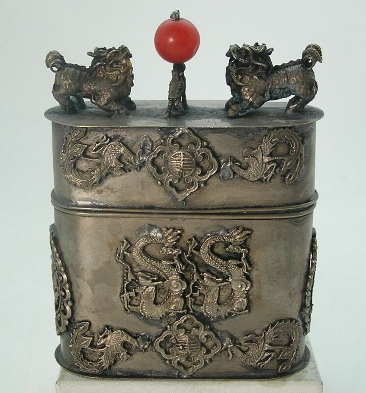 Vintage Awesome Silver Oval Chinese Tea Caddie Box Foo Dogs Dragons Roosters WOW
