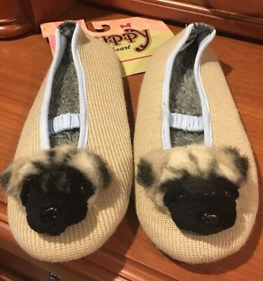Pug Puppy At Heart Dog Bedroom House Slippers Women's Large