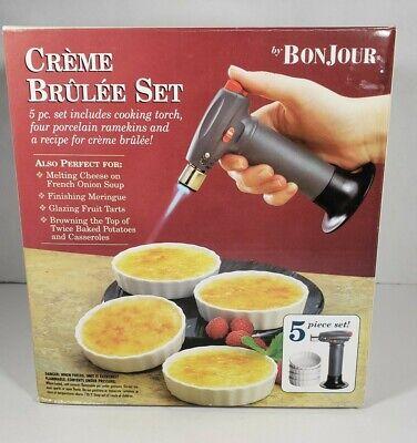 Creme Brulee 5 Piece Set Torch 4 Porcelain Ramekins Brand New