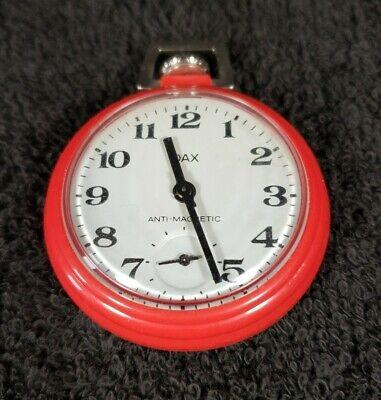 Vintage Dax Westclox Red Pocket Watch Working Condition