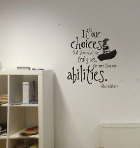 Harry Potter Our Choices Quote Vinyl Wall Decal Lettering Abilities Sorting Hat