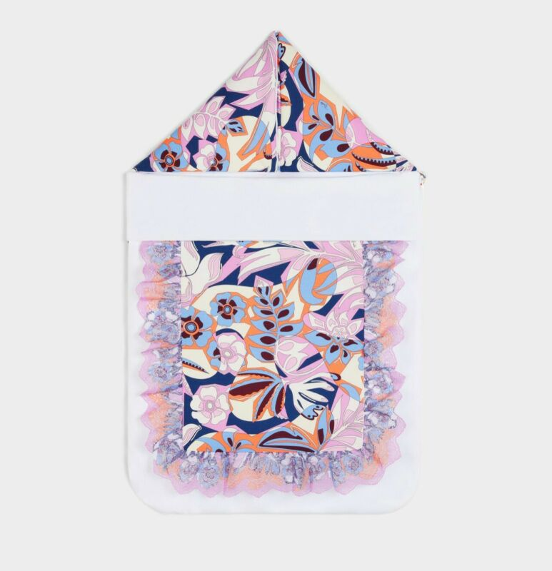 EMILIO PUCCI PRINTED BABY NEST WITH LACE SLEEPING BAG BUNTING MULTICOLOR