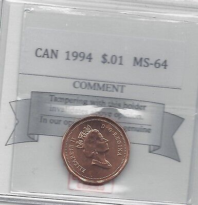 1994COIN MART GRADED CANADIAN SMALL ONE CENT MS 64