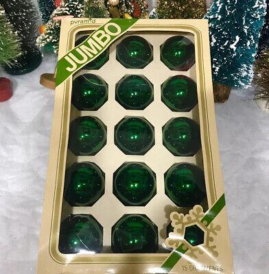 Jumbo Christmas Ornaments (Vintage Pyramid Jumbo Pack 15 Emerald Green Glass Christmas Ornaments IOB)