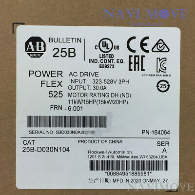 New Sealed Allen-bradley 25b-d030n104 Powerflex 525 15kw 20hp Ac Drive