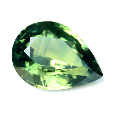 Certified Natural Green Sapphire 0.77ct VVS Clarity Madagascar Pear 6.7x4.9 mm