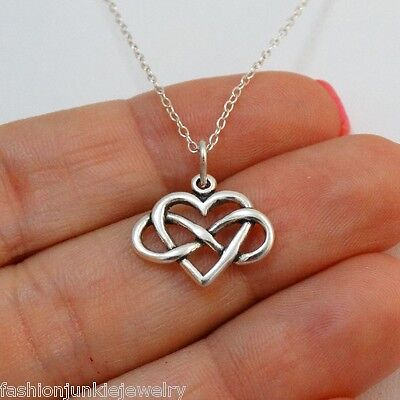 Infinity Heart Necklace   925 Sterling Silver   Charm Love Gift Girlfriend New