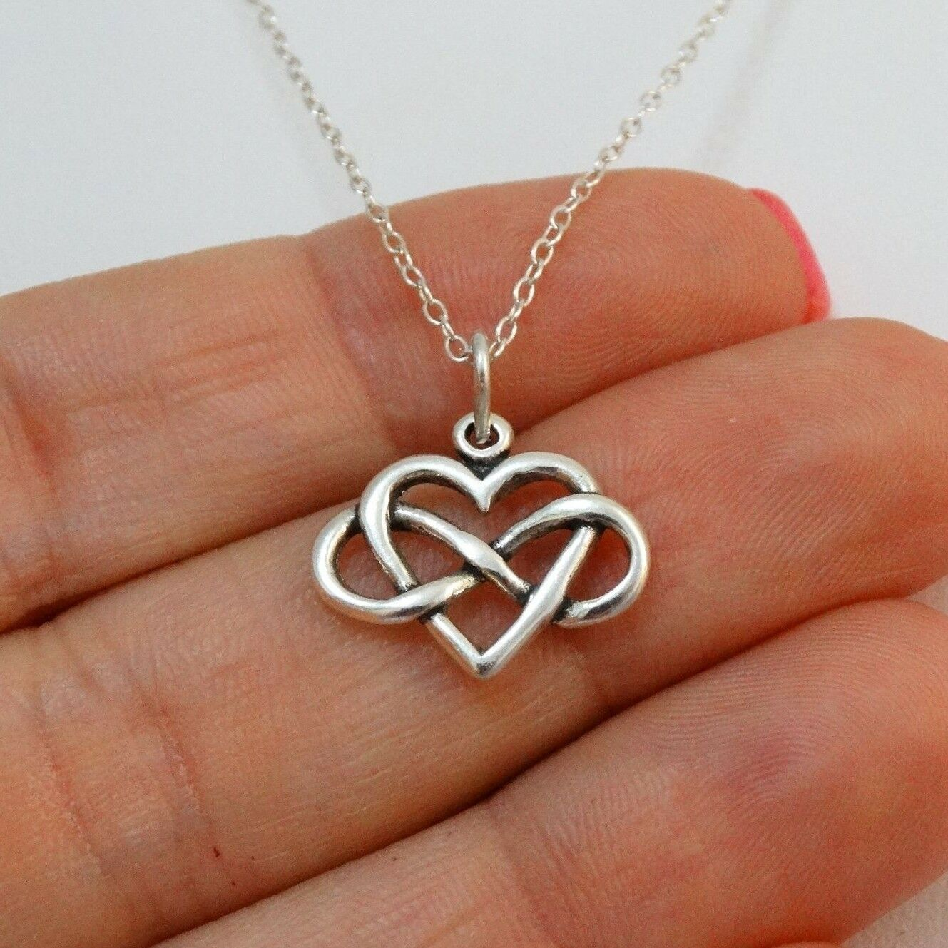 Petite Infinity Heart Charm Necklace - 925 Sterling Silver