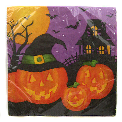 Halloween Party Pumpkin Witch Napkins Orange Black Green Lot of 4 - Halloween Party Packages