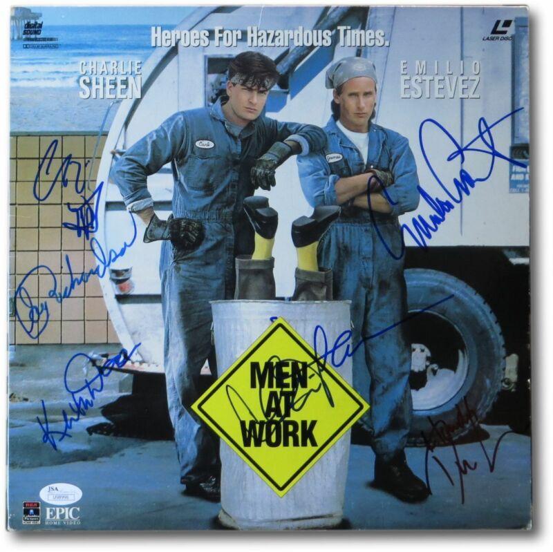 Men at Work Cast Signed Autographed Laserdisc Cover Charlie Sheen + JSA U98996