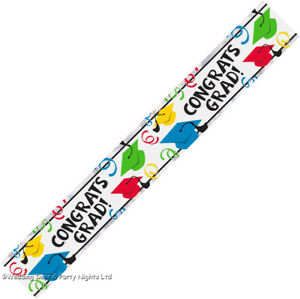9ft Congrats Grad Multicolour Banner Graduation Party Decoration Caps + Swirls