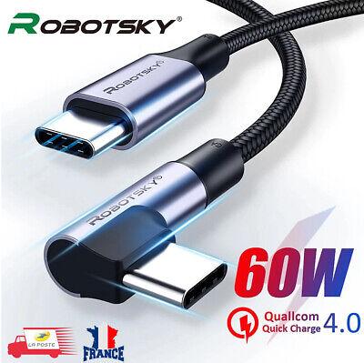 Câble Chargeur Rapide USB Type C vers USB C PD 60W 4.0...