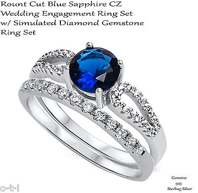 Brilliant Cut Blue Sapphire Engagement / Wedding Sterling Silver Two Ring Set ()