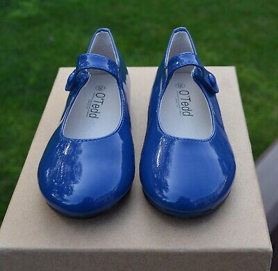 Girls patent leather dress shoes top designer label blue & black colors NEW BOX Black Patent Leather Kids Shoes