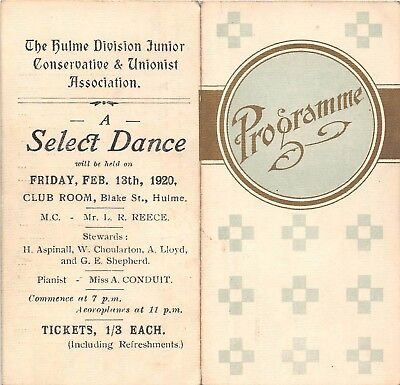 POSTCARD   POLITICS    EPHEMERA  HULME  Junior  Conservative  Select  Dance 1920