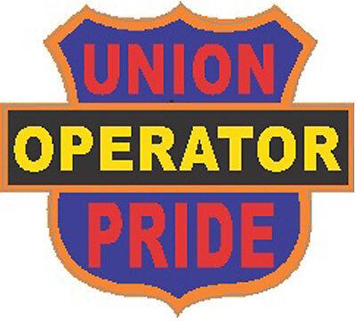 Operator Union Pride On Shield Hard Hat Sticker Co-14