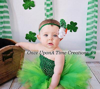 St Patricks Day Green Tutu Dress Newborn Baby Girl 3 6 12 Months 2T 3T 4T 5 Size