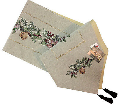 Pfaltzgraff Garland Spruce Christmas Tapestry Table Runner - Garland Table Runner