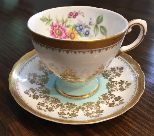Elegant Royal Tuscan Tea Cup & Saucer Turquoise Pink Fancy Gold Gilt Lovely!