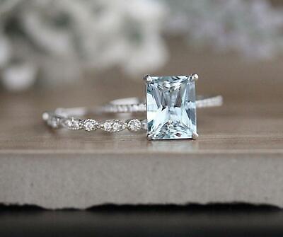 Gold Emerald Set (2Ct Emerald Cut Aquamarine Engagement Bridal Ring Set14k White Gold Finish )