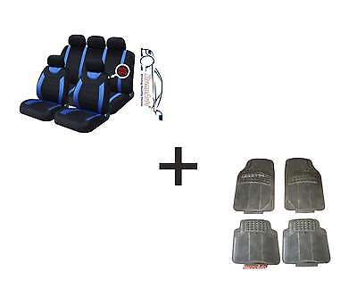 CARNABY BLUE Universal CAR SEAT COVERS PROTECTORS RUBBER MATS GENUINE FOOT WELL