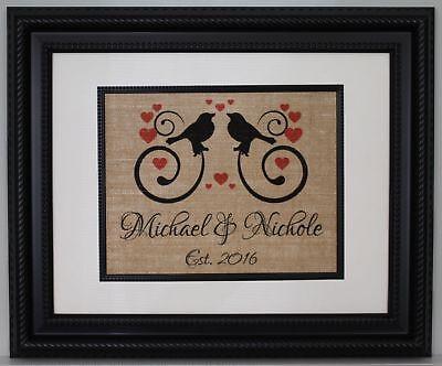 Personalized Wedding Gift (Personalized Burlap Print, Wedding Gift, Anniversary Gift, Engagement Gift,)